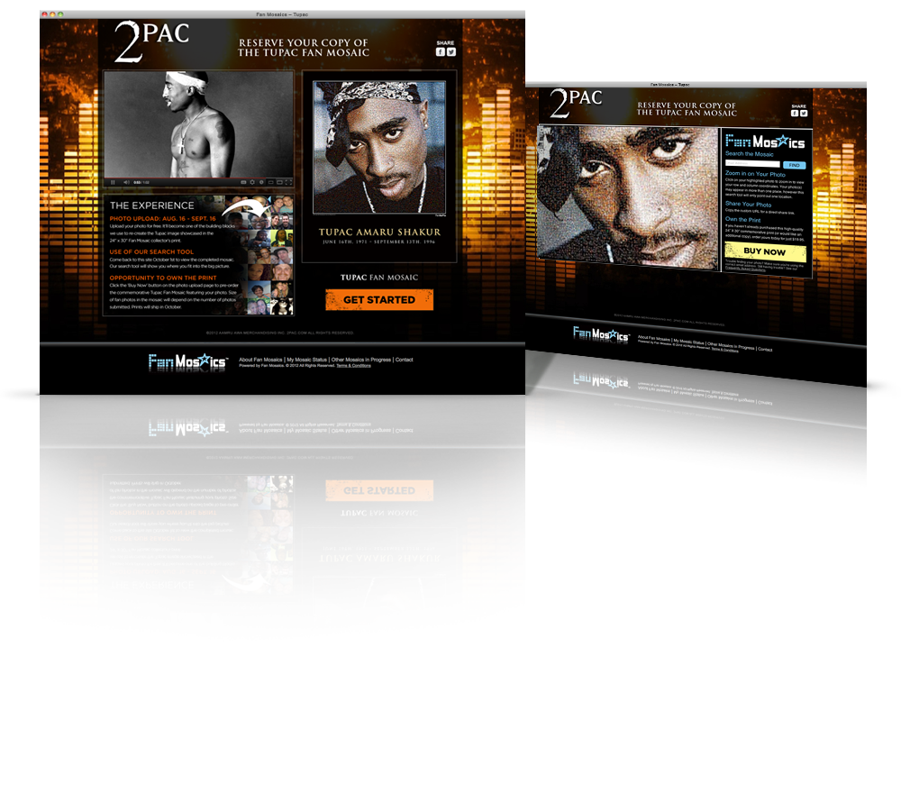 Fan Mosaics Tupac Landing Site Web Design