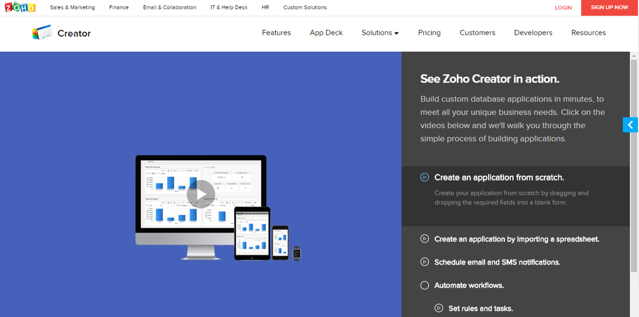 Zoho's Creator product tour lays out steps in the sidebar