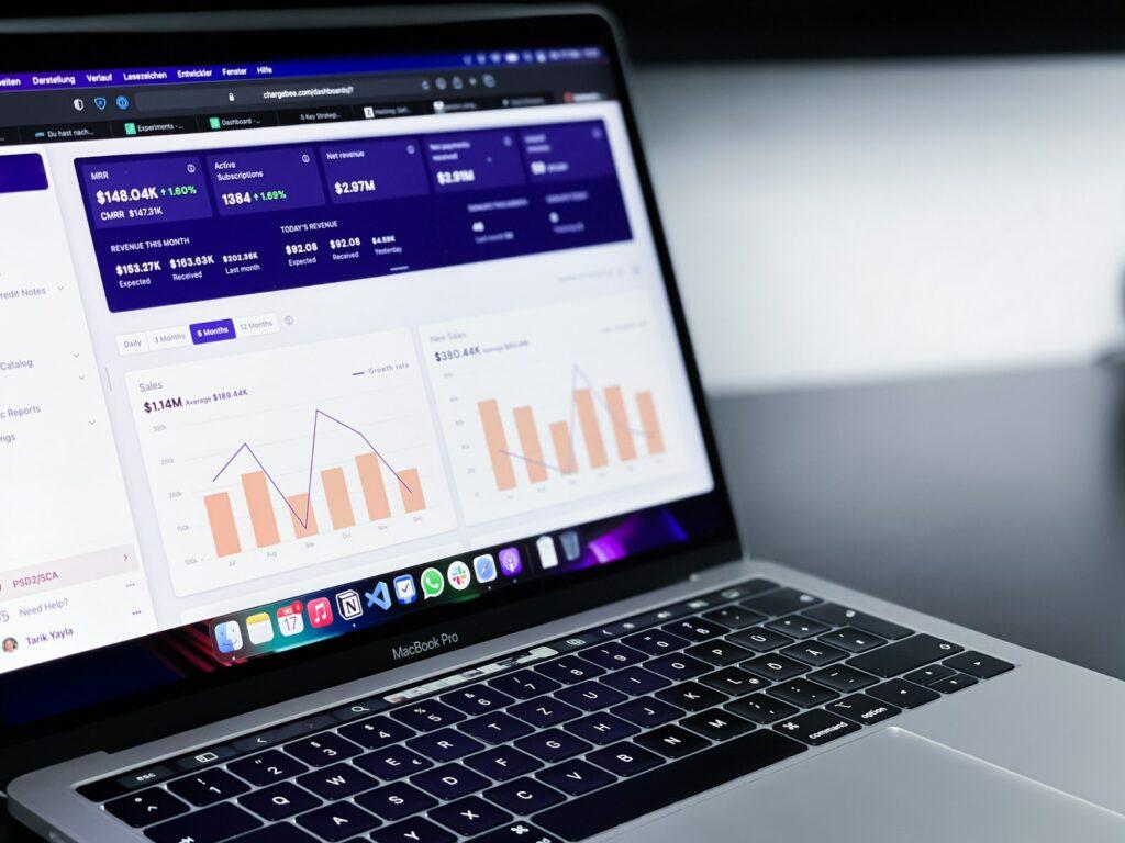 key performance indicators on a laptop computer screen